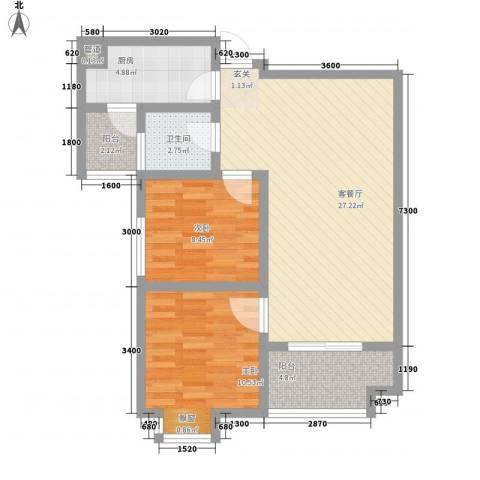 万象湾2室1厅1卫1厨89.00㎡户型图
