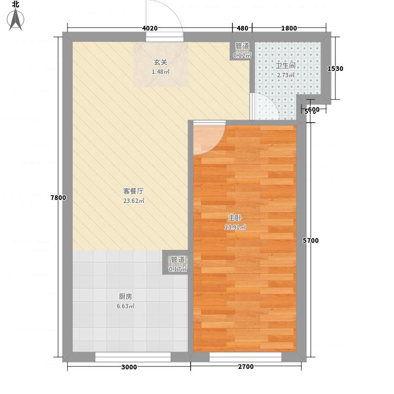 糖果社区二期1室1厅1卫0厨49.00㎡户型图