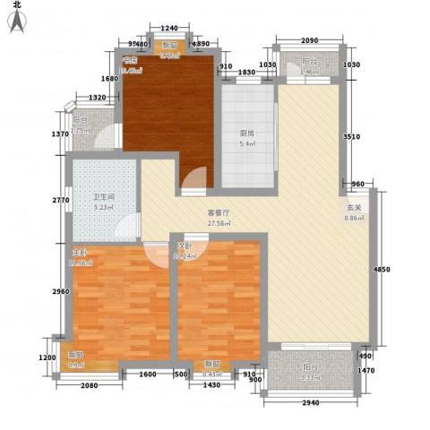 东珂臻品明纶园3室1厅1卫1厨113.00㎡户型图