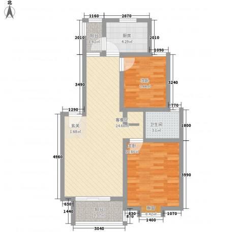 东珂臻品明纶园2室1厅1卫1厨83.00㎡户型图