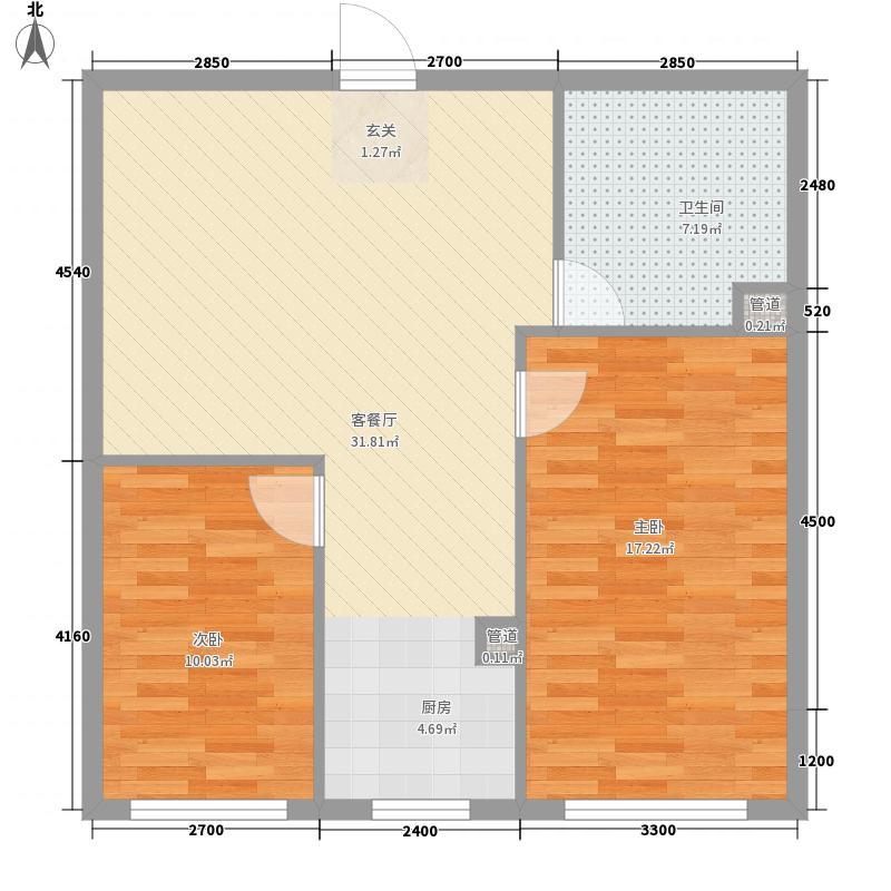 糖果社区二期6.76㎡127#D户型2室1厅1卫1厨