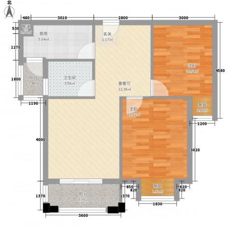 星光银河湾2室1厅1卫1厨60.07㎡户型图