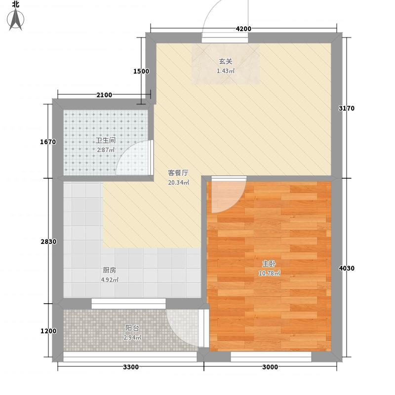 糖果社区二期1室1厅1卫0厨48.00㎡户型图