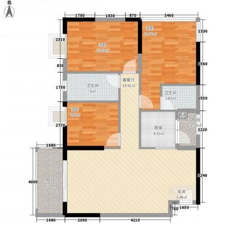 兴合坊3室1厅2卫1厨87.11㎡户型图