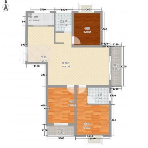 港利・锦绣江南3室1厅2卫1厨124.00㎡户型图