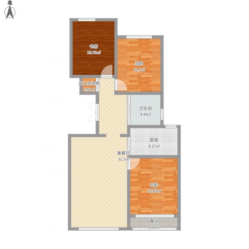 翡翠园113.18平米三室两厅一卫