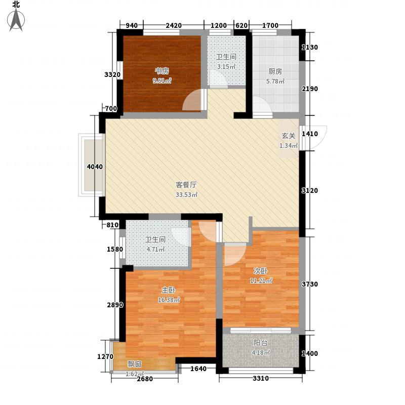 鹊华天禧126.00㎡3#D1户型3室2厅2卫1厨