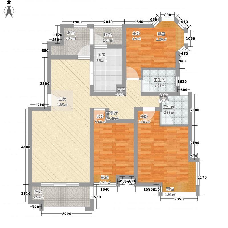 十甲花园126.00㎡户型3室