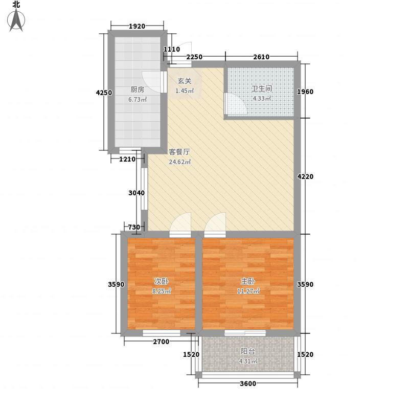 滨河城・左岸77.70㎡10#楼B2户型2室2厅2卫1厨