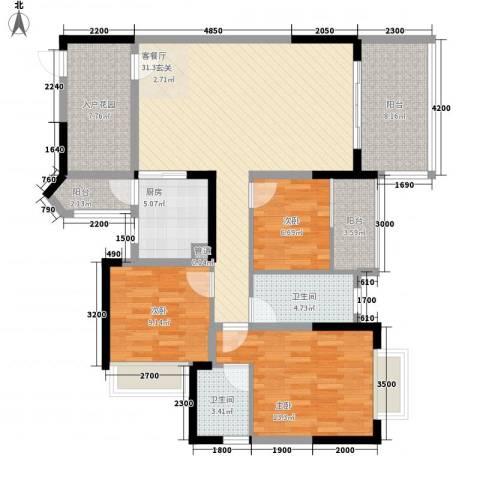 派3室1厅2卫1厨116.00㎡户型图