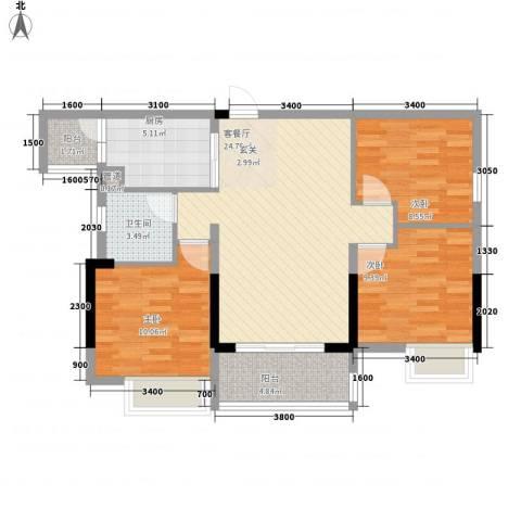 派3室1厅1卫1厨68.08㎡户型图
