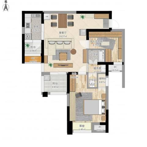 英郡三期1室2厅2卫1厨90.00㎡户型图