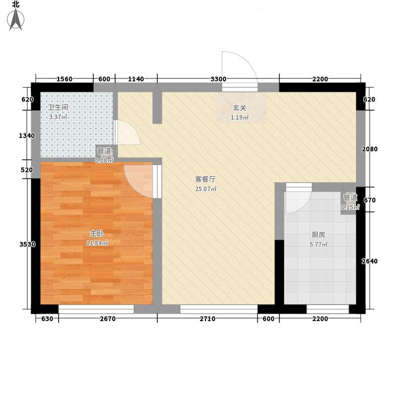 绿地・城央名邸6.22㎡D户型1室2厅1卫1厨