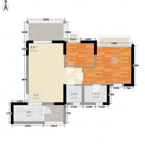 璐易豪庭2室1厅2卫1厨67.00㎡户型图