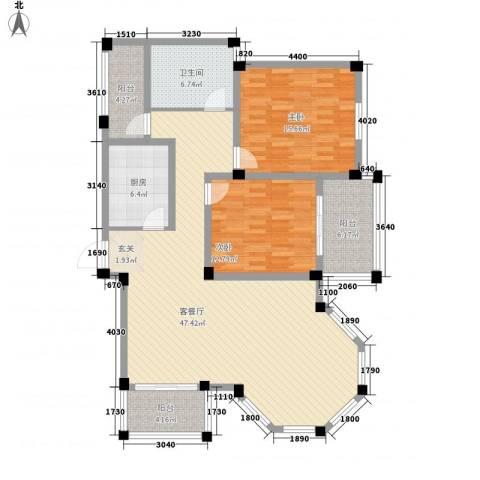 盛世莲花2室1厅1卫1厨118.00㎡户型图