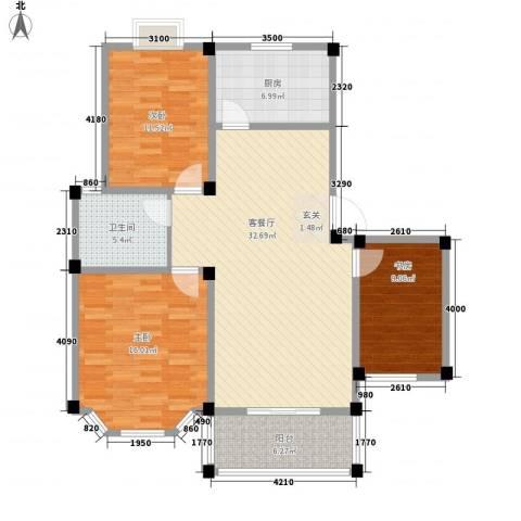 盛世莲花3室1厅1卫1厨105.00㎡户型图