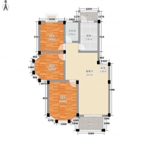 盛世莲花3室1厅1卫1厨87.77㎡户型图