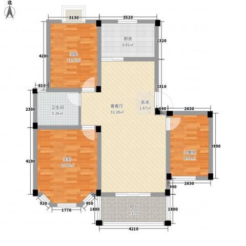盛世莲花3室1厅1卫1厨86.61㎡户型图