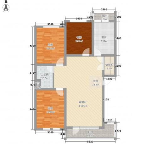 包豪斯国际社区3室1厅1卫1厨113.00㎡户型图