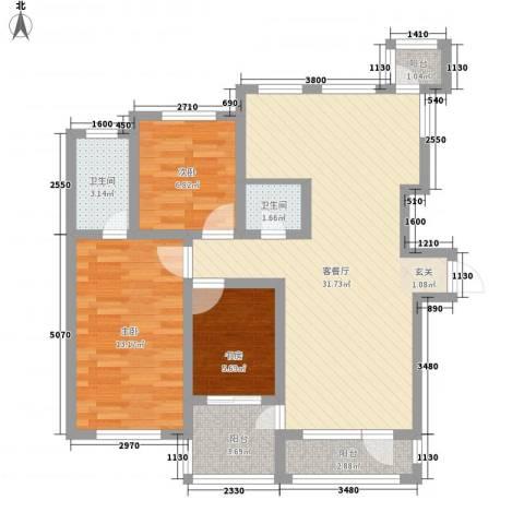 草阳高层3室1厅2卫0厨103.00㎡户型图