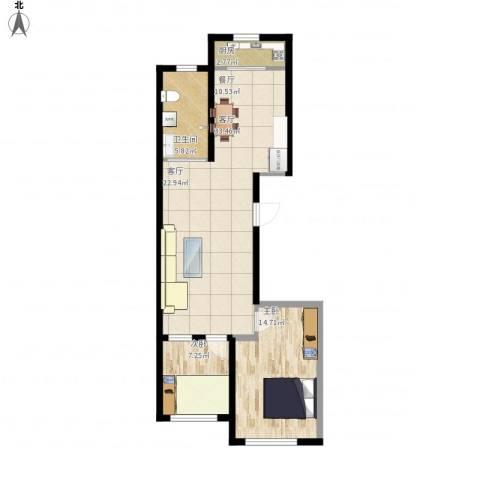 东港佳地花园二期2室1厅1卫1厨91.00㎡户型图