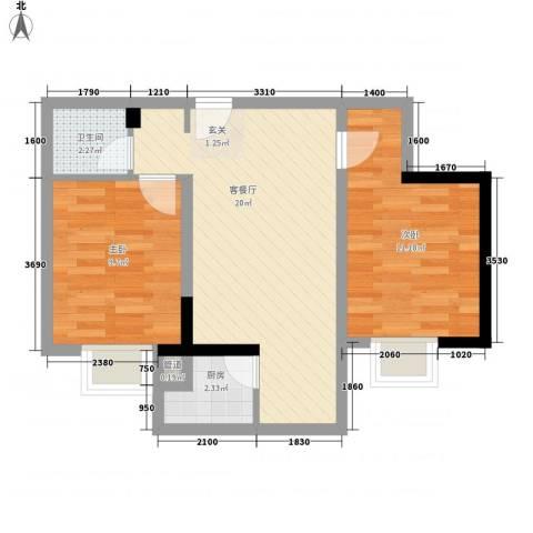 大兴新悦城2室1厅1卫1厨66.00㎡户型图