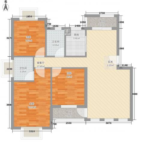 红谷春天3室1厅2卫1厨116.00㎡户型图
