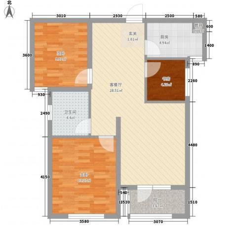 奥林清华御园3室1厅1卫1厨97.00㎡户型图