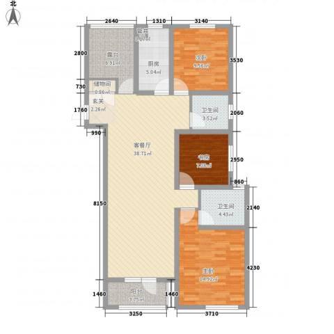 奥林清华御园3室1厅2卫1厨136.00㎡户型图