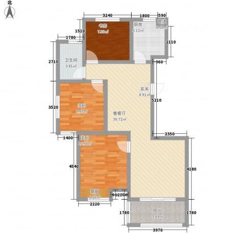 祥生・中央华府3室1厅1卫1厨111.00㎡户型图