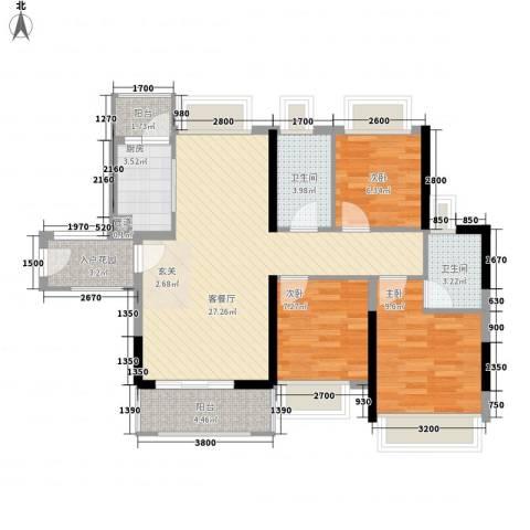上一居3室1厅2卫1厨130.00㎡户型图