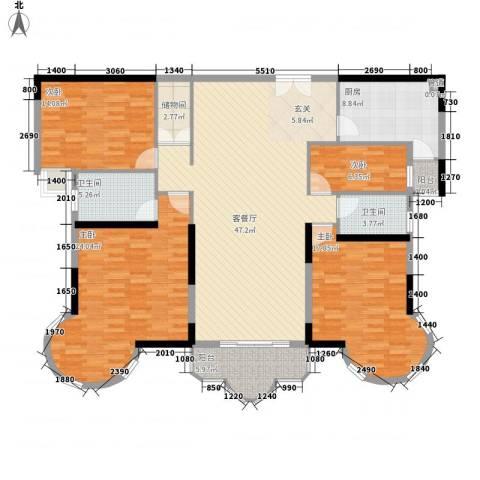 逸景翠园御豪轩4室1厅2卫1厨166.00㎡户型图