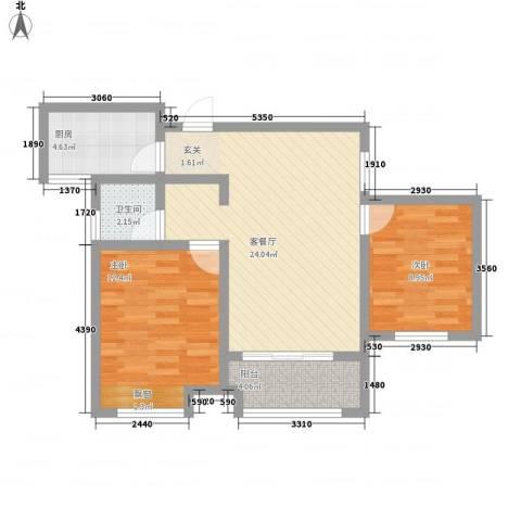 祥生・中央华府2室1厅1卫1厨82.00㎡户型图