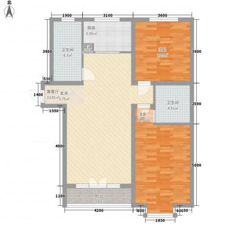 怡安公寓2室1厅2卫1厨119.00㎡户型图