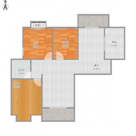 华美达广场2室1厅1卫1厨91.45㎡户型图