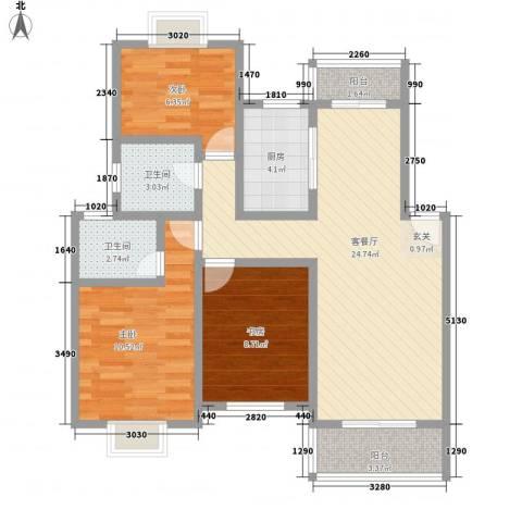 临桥苑3室1厅2卫1厨95.00㎡户型图