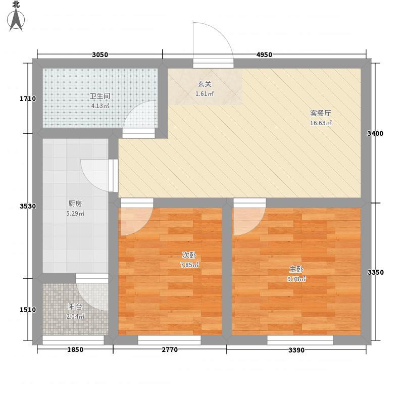 正商幸福港湾67.58㎡一期M12户型2室2厅1卫1厨