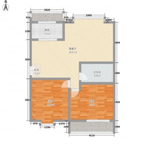 五龙花园2室1厅1卫1厨97.00㎡户型图