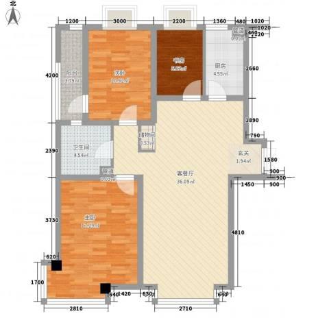 清华同方信息港3室1厅1卫1厨119.00㎡户型图