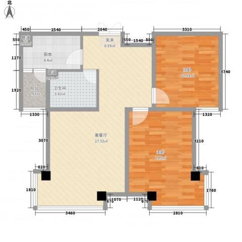 清华同方信息港2室1厅1卫1厨85.00㎡户型图