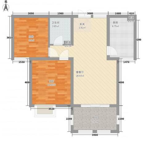 金湖国际2室1厅1卫1厨95.00㎡户型图