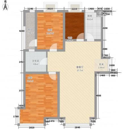 清华同方信息港3室1厅1卫1厨122.00㎡户型图