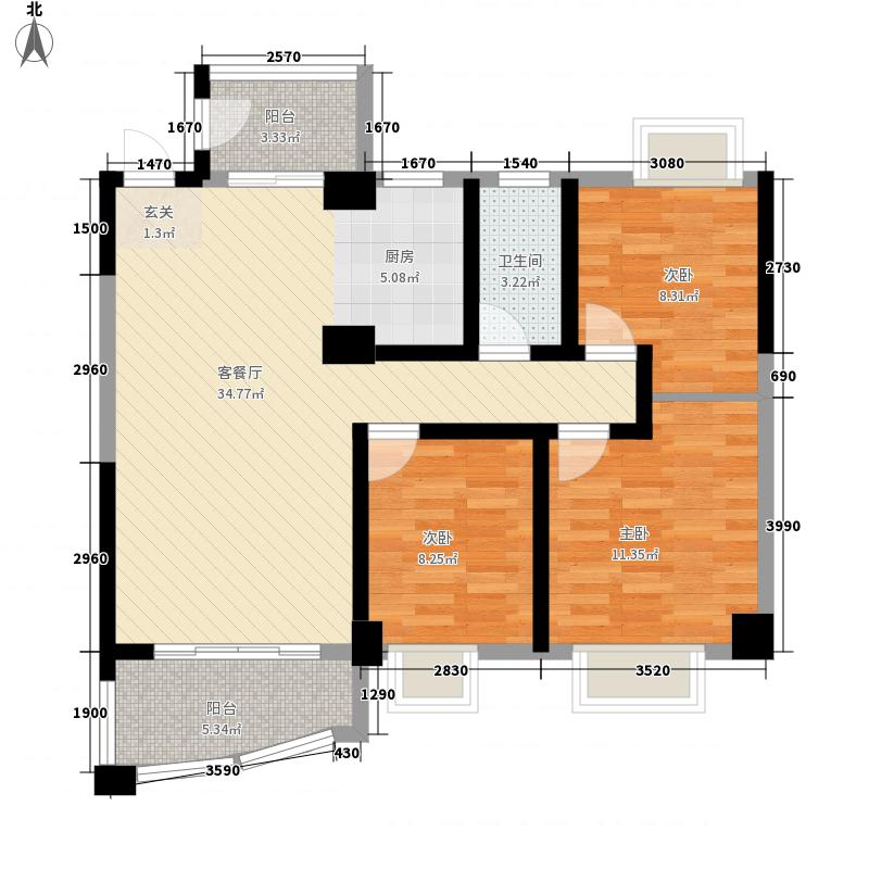 汇星园3室1厅1卫0厨109.00㎡户型图