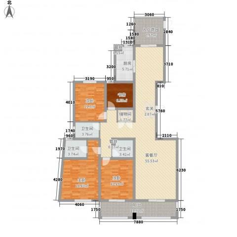 奥林清华御园4室1厅3卫1厨202.00㎡户型图