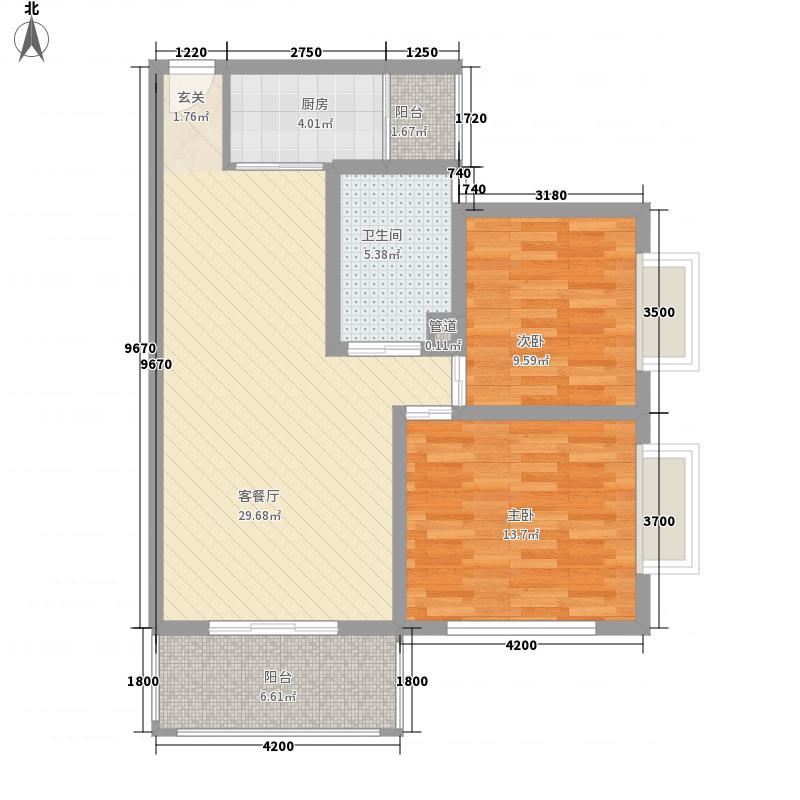 三亚新浪国际公馆1.41㎡户型2室2厅1卫1厨