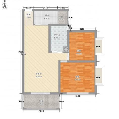 三亚新浪国际公馆2室1厅1卫1厨70.75㎡户型图