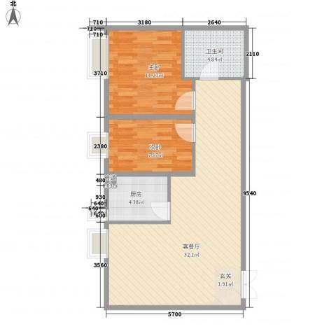 恒实城市广场・新城市花园2室1厅1卫1厨91.00㎡户型图