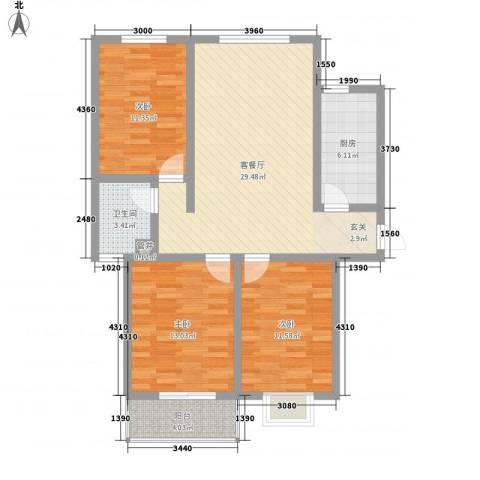 恋日晴园3室1厅1卫1厨91.00㎡户型图