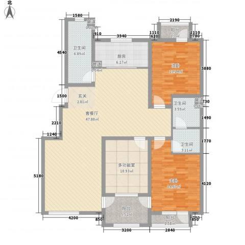 幸福里2室1厅3卫1厨132.12㎡户型图