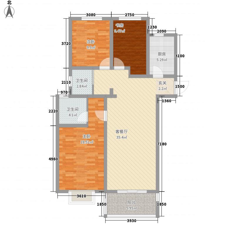 正商幸福港湾131.28㎡一期L5户型3室2厅2卫1厨